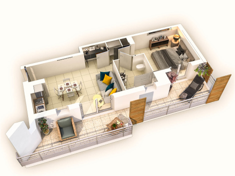 Plan de vente 3D d'appartement