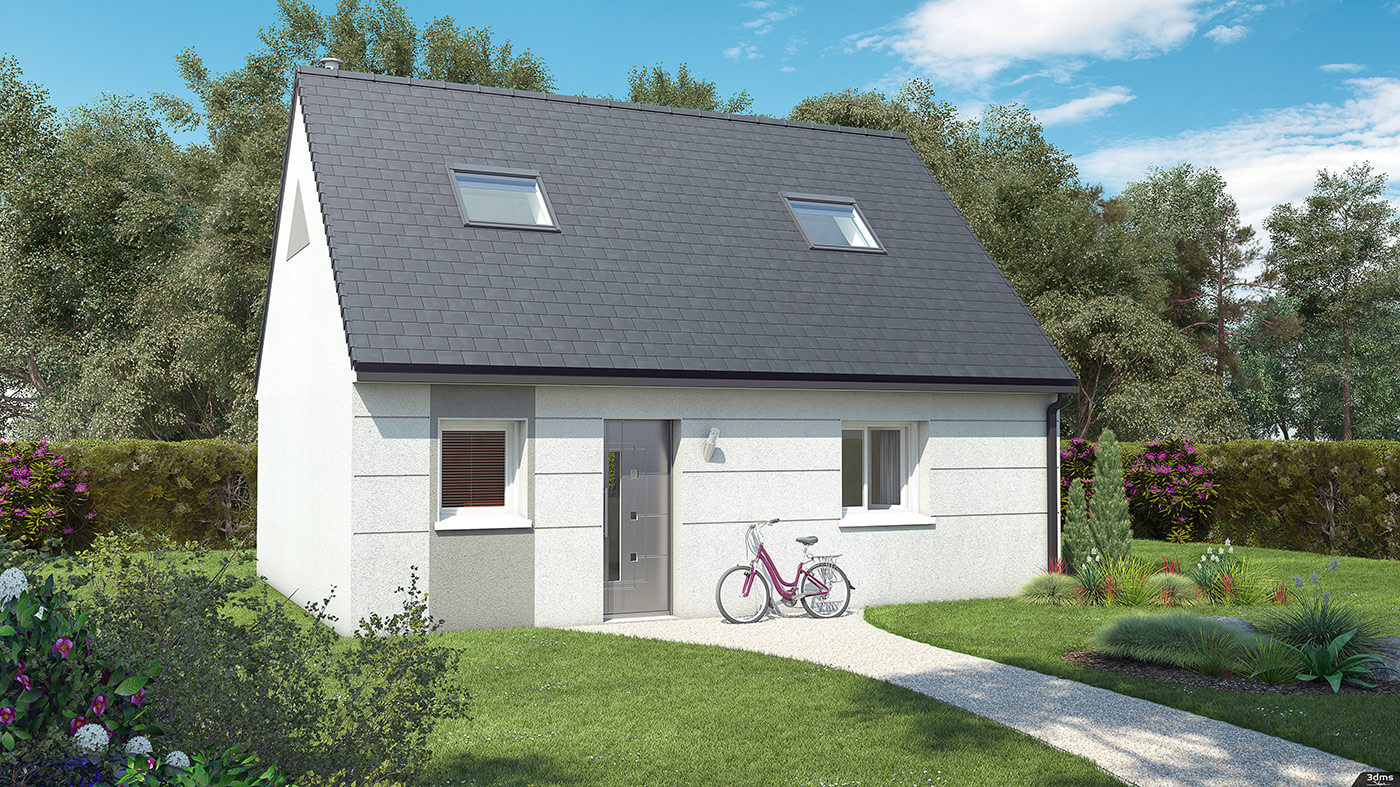 Illustration 3D simple de visuel de perspective extérieure de maison individuelle, sans insertion de personnages