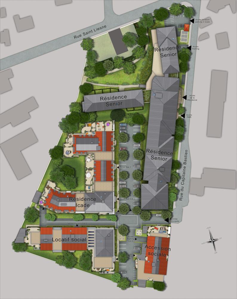 Illustration de plan de masse 2d 3d de projet immobilier for Projet de plan
