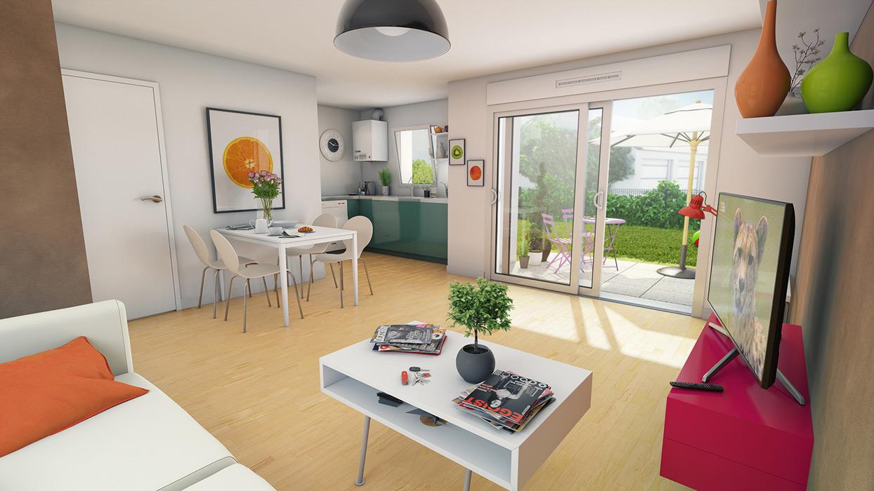 Perspective dillustration intérieure de maison avec jardin et vue sur le jardin depuis