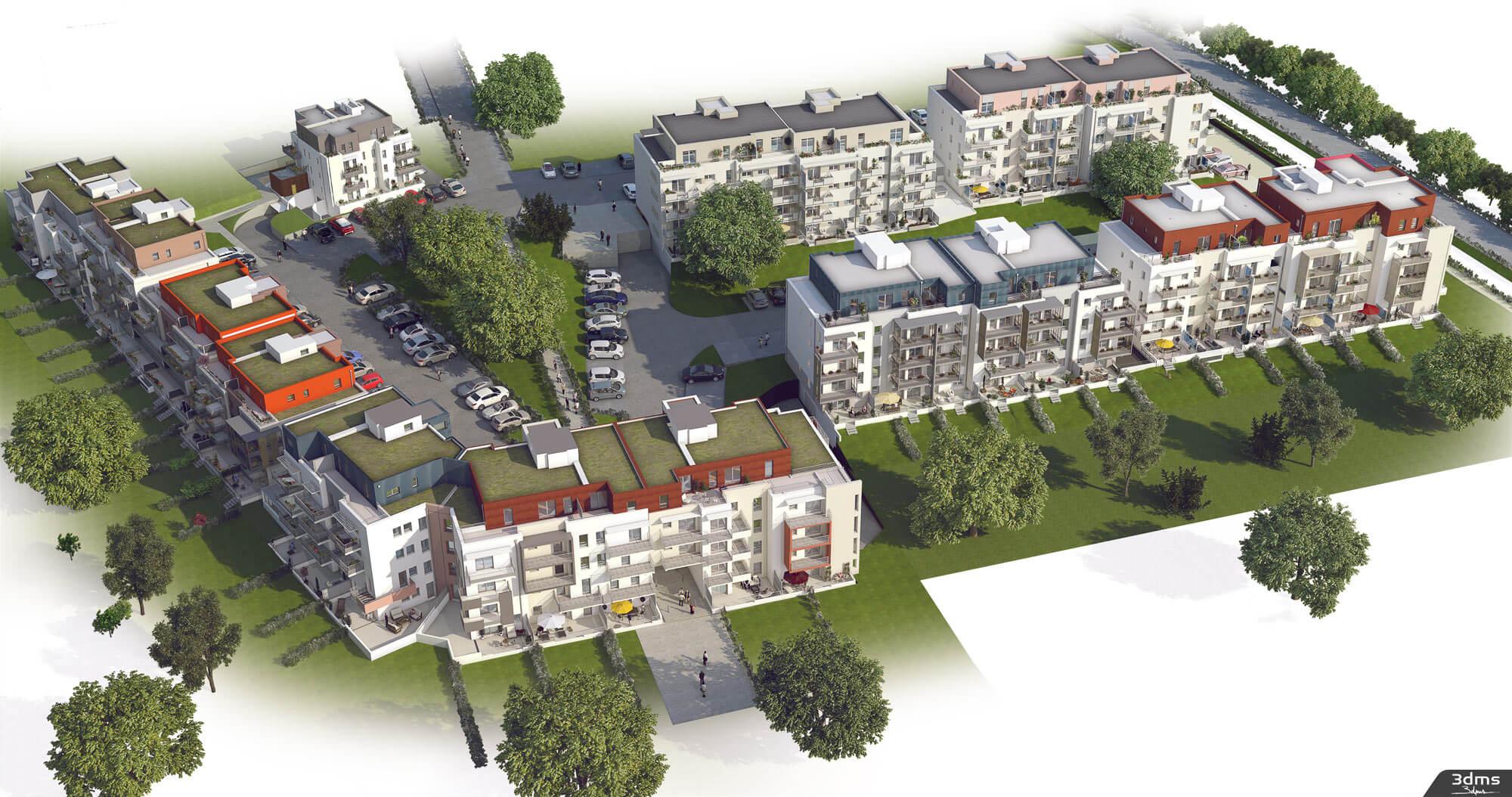 Illustration 3d de projet immobilier dans son ensemble en vue axonométrique