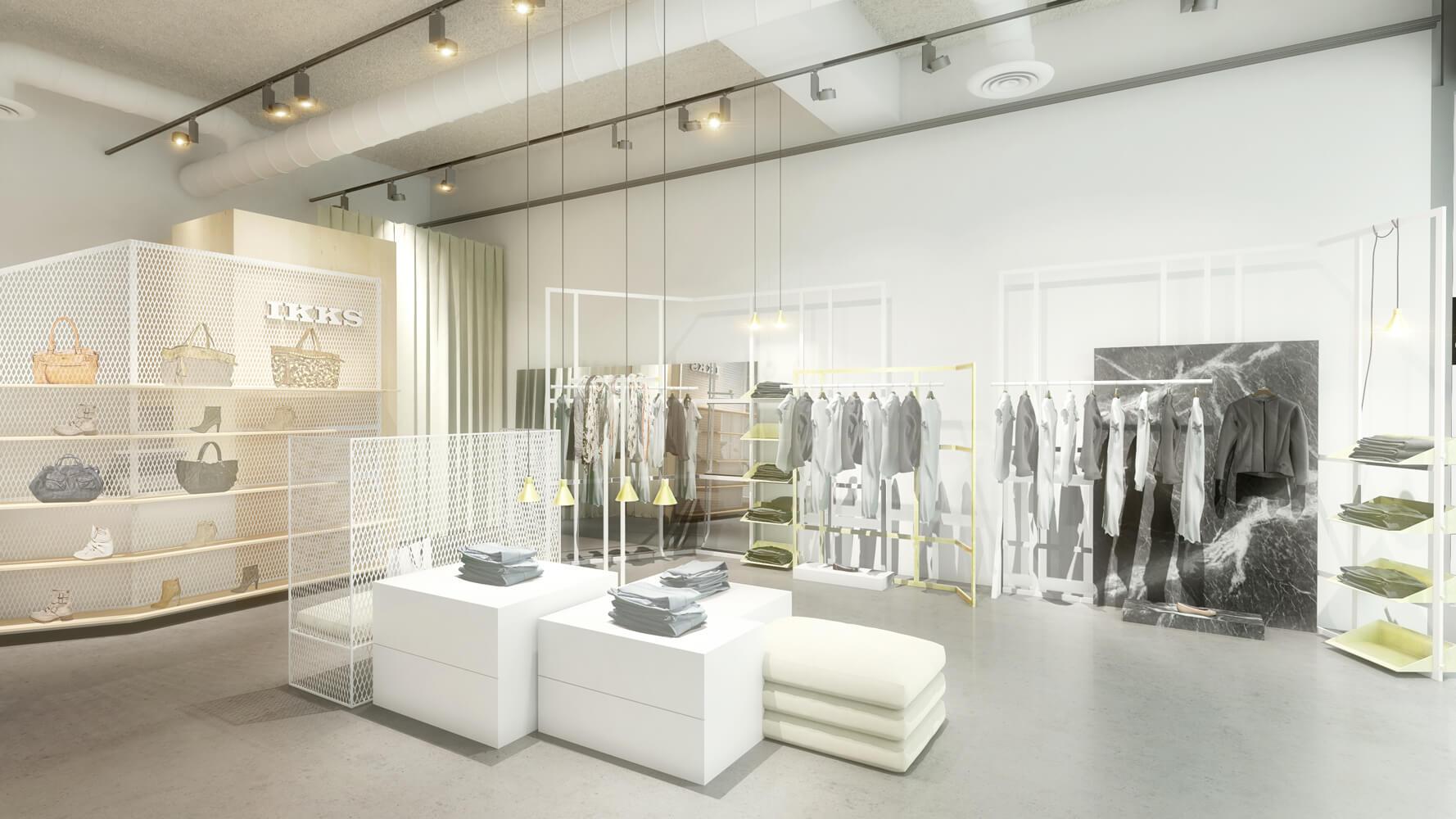 Sc ne int rieure 3d illustr e pour la vente immobili re 3dms for Boutique deco interieure