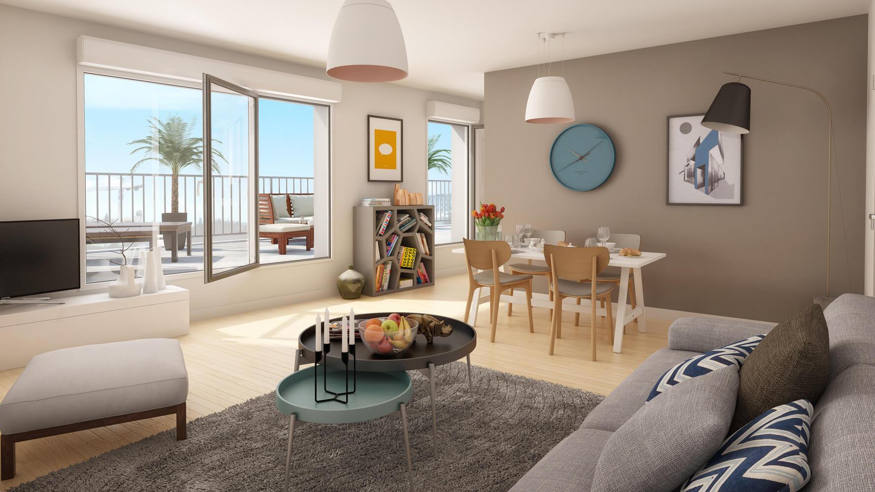 Scène intérieure 3D illustrée pour la vente immobilière | 3dms