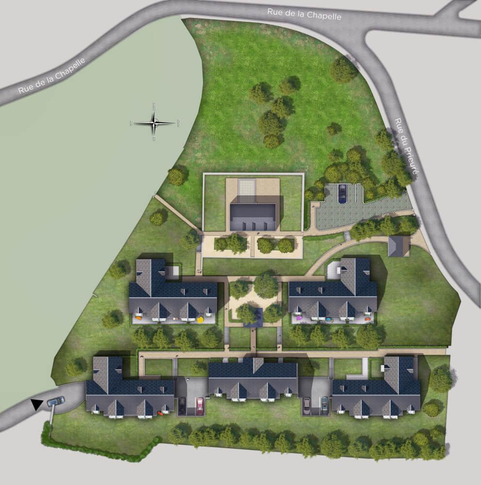 Plan de masse de projet immobilier en 2d projection de type axonométrique vue de dessus