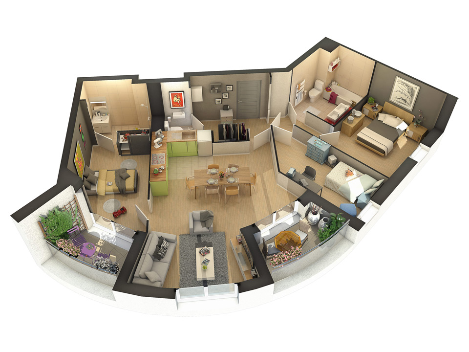 Plans de vente 3d pour l 39 immobilier neuf 3dms for Appartement design plan