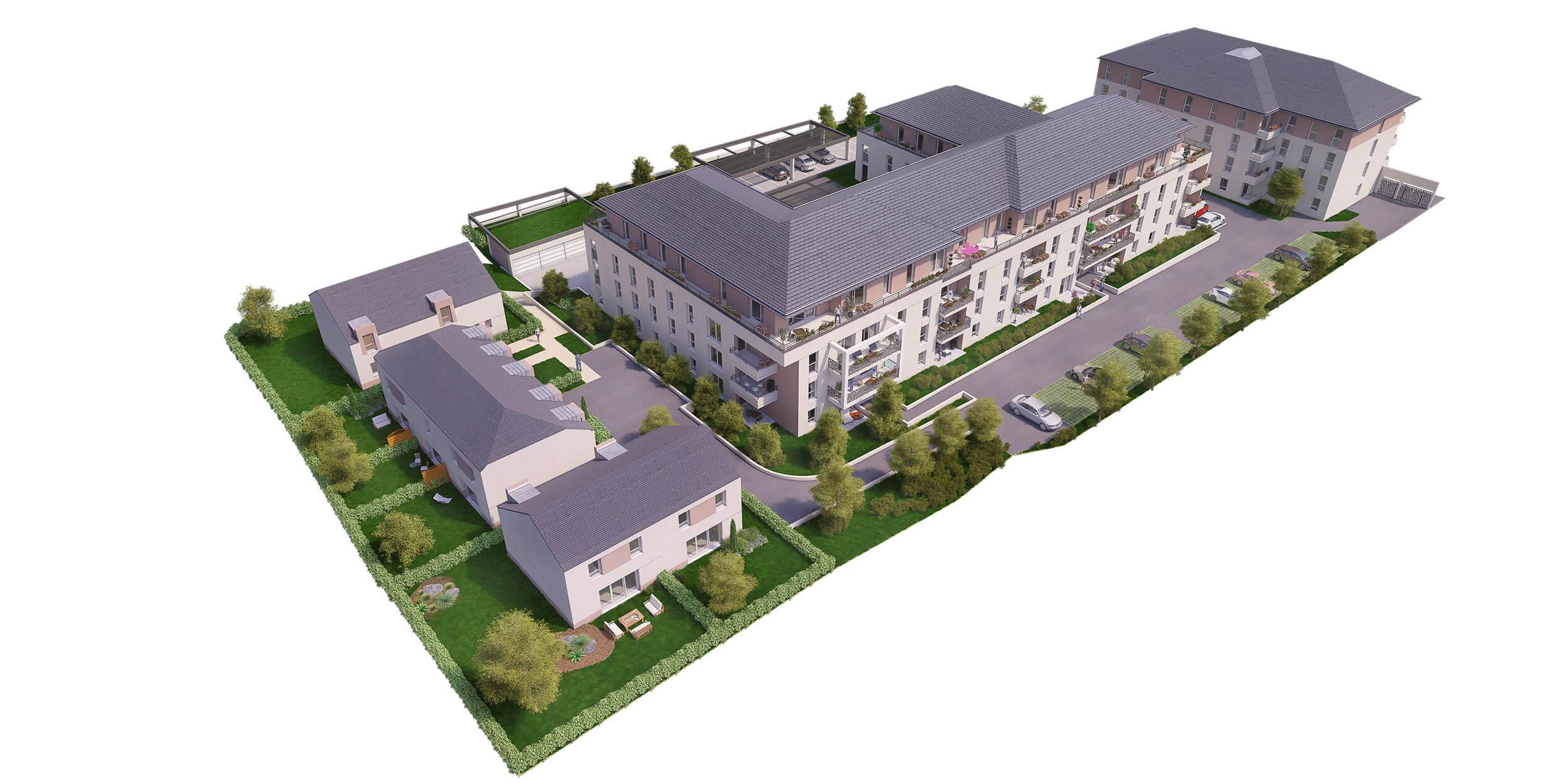 Plan de masse 3d de projet immobilier avec un angle en for Plan 3d jardin