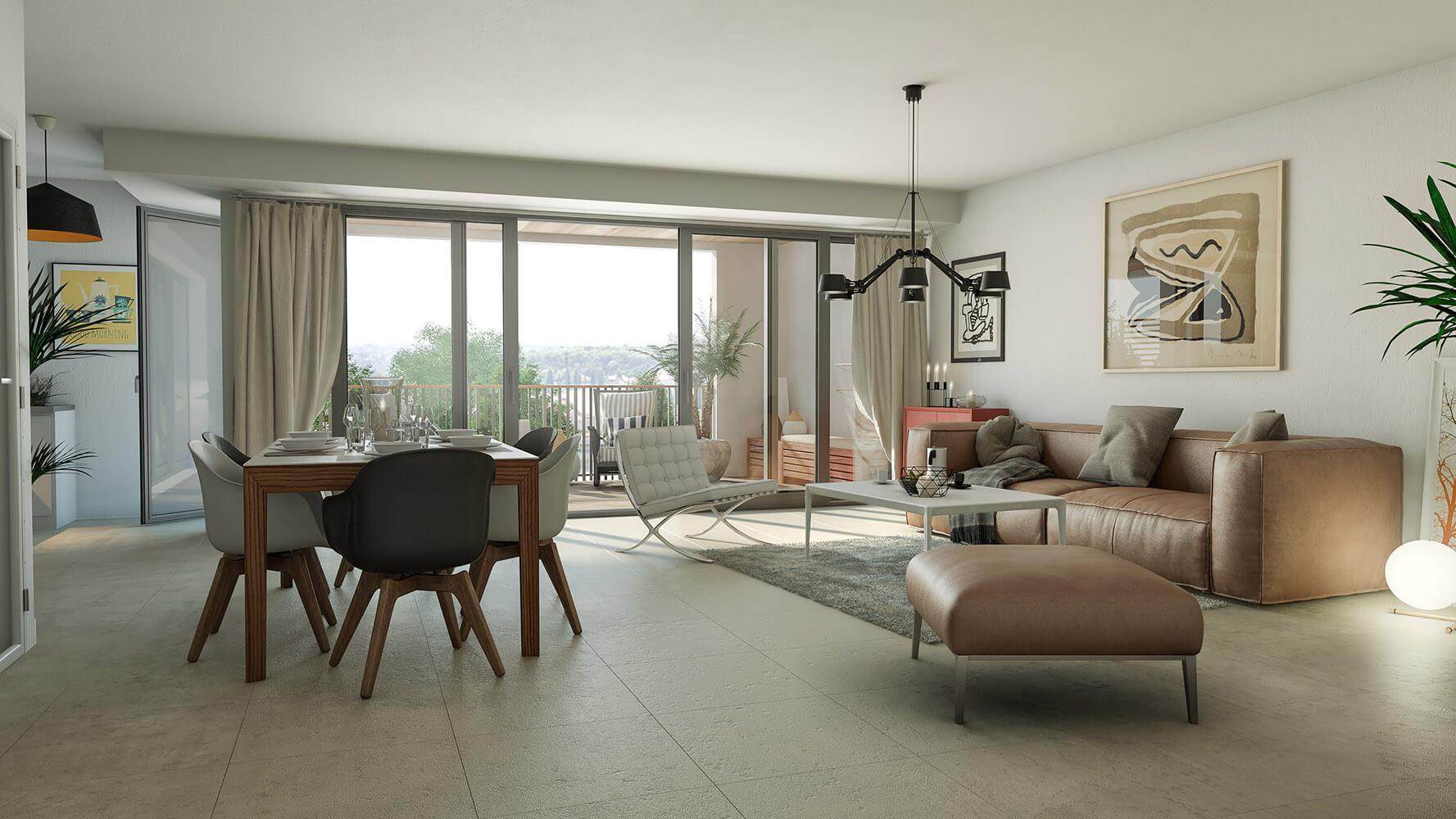 illustration 3d de perspective intrieure dun appartement haut de gamme avec une dcoration chaleureuse
