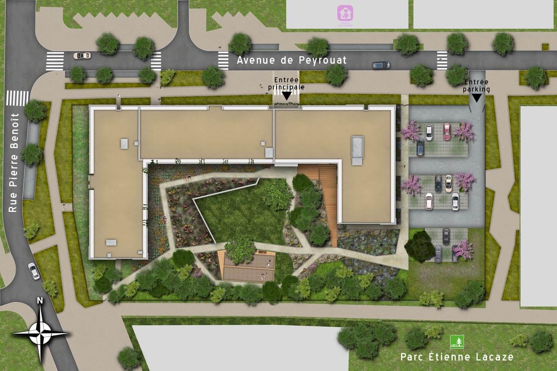 Plan de masse 2d avec profil paysager